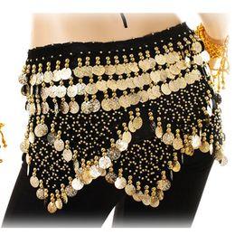$enCountryForm.capitalKeyWord Australia - Belly Dancing Costume Hip Scarf Indian Dance Belt 312pcs Gold Coins Velvet Rhinestone Wrap Skirt Wrap Tops Bollywood Carnival