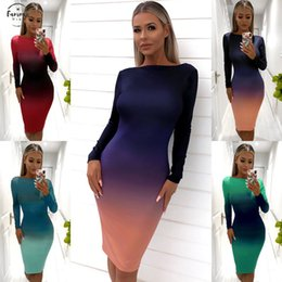 hot long dress models NZ - 2020 Hot Sale Female Models Tide Womens Gradient Dress Elegant Stretchy Backless Long Sleeve Sexy Party Mini Dress