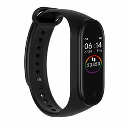kids bracelets watch UK - M4 Smart Wristband Sport Fitness Tracker Heart Rate Monitor Bracelet Calories Waterproof IP67 Smart Band Fashion Watch for iOS