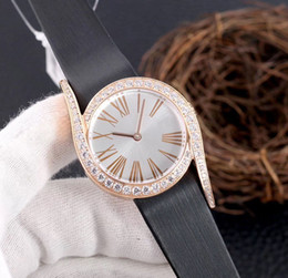 new japanese watch Australia - New Fashion Diamond Watch Simple Women's Watch Imported Leather Imported Japanese Quartz Movement Sapphire Glass Diameter 33mm