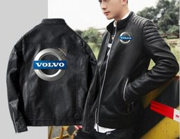 Sheepskin Car Australia - Men's motorcycle leather Korean version of the slim jacket volvo leather classic car sheepskin hooded jacket