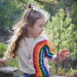 Kids sweatshirts for girls online shopping - Benemaker Fashion Sweatshirts For Girl Spring Long Sleeves Warm Rainbow Tassel Children s Pullover Clothing Baby Kids JH015