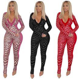 4923d7343cc8 tuta delle donne tuta a maniche lunghe tuta sexy pagliaccetto moda elegante  skinny paillettes tuta pullover profondo-v collo confortevole clubwear z1