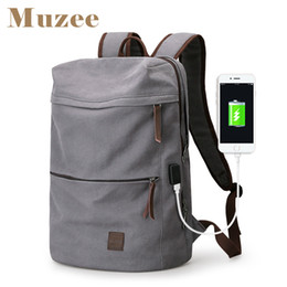 Male Fashion Suits Australia - Muzee 2019 New Canvas Backpack Usb Design Backpack Men Male Student Bag For Weekend Mochila Suit For 15.6 Inches Laptop Backpack Y19061102