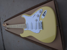 Abalone Guitar Neck Australia - Free Shipping Factory Custom Milk Yellow Electric Guitar with Scalloped Maple Neck,3 S Pickups,Big Headstock,Abalone Inlay,Offer Customized