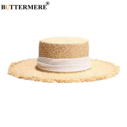 straw boater hats UK - Buttermere Brand Women Boater Raffia Straw Sun Hat Ladies Spring Summer Wide Brim Fashion Casual Lace-up Ladies Beach Flat Cap Y19070503