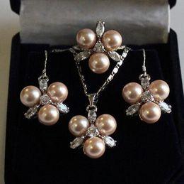 $enCountryForm.capitalKeyWord Australia - Prett Lovely Women's Wedding fast shipping>> Fashion 8mm Coffee Shell Pearl Earring Pendant Ring 7 8 9 Jewelry Set