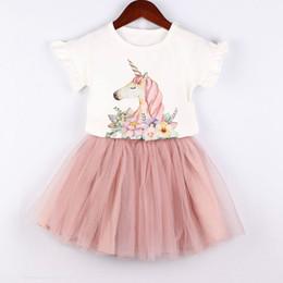 $enCountryForm.capitalKeyWord Australia - New Summer Girls Clothing Set Kids White Cotton Horse Printed T-shirt with Peach Tulle Tutu Skirt 2-Piece Outfit Fashion Children Clothes