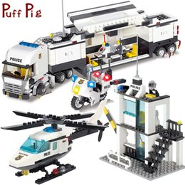 diy boys toys UK - Police Station Trucks Helicopter Building Blocks Set Kids Toys Brinquedo City Figures Diy Construction Bricks Toys For Children MX190730