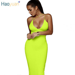 neon clothes clothing NZ - Haoyuan Neon Yellow Orange Black Sexy Maxi Dress Deep V Backless Close Bodycon Clothes Summer Clothes For Women Club Party Dress Y19071101