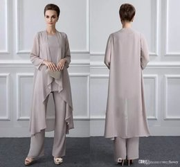 c67ede267d9b Simple Mother Of The Bride Pant Suits With Jacket Chiffon Beach Wedding  Guest Groom Dresses Cheap Mothers Outfit Long Garment