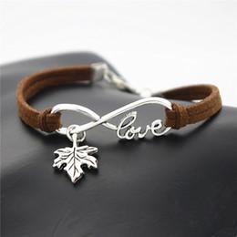 Tree infiniTy love braceleT online shopping - Infinity Love Plant Tree Leaves Maple Leaf Charm Bracelets Bangles Dark Brown Leather Suede Rope Cuff Women Men Friend Customize Jewelry