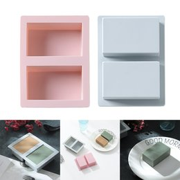 fondant cut UK - Rectangle Soap Mold Silicone Craft DIY Soap Making Mould Fondant Cake Decoration Hand Made Cuboid Shape Molds DIY Accessories