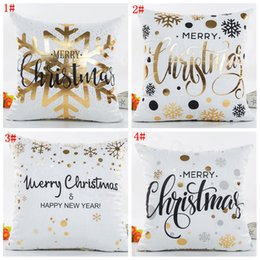 Happy pillow cusHion online shopping - Happy merry Christmas Cushion Cover Gold Printed Pillow Cover Decorative Pillow Cases Sofa Pillowcase Soft gold home decor cm FFA3201