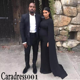 $enCountryForm.capitalKeyWord Canada - Kim Kardashian Celebrity Maternity Evening Dresses Black Jersey Pregnant Women Party Dresses Cape Party Formal Gowns robe de soiree