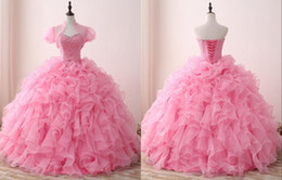 Organza Wraps Jackets Australia - Elegant Pink Quinceanera Prom Dresses 2019 Ball Gown Ruffled With Jacket Crystal Top Beaded Organza Sweet 16 Dress Vestidos 15 Anos