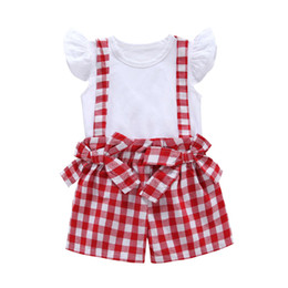 68ddc0bfe Baby Girls Plaid Set 2019 New Summer Kids White flying Sleeve T shirts  Top+Bow Plaid Suspender Pants 2pcs Suit Children Fashion Clothing Z11