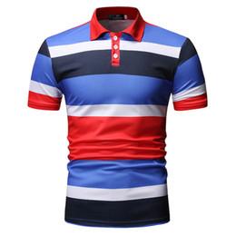 e0c17b6ae Men Stripe Button Slim Fit Turn-Down Collar Short Sleeve Top Shirt Summer  Casual Turn-down Collar Man T-Shirts Top