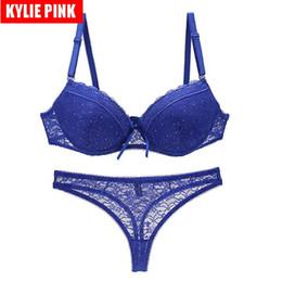 Discount lace langerie - KYLIE PINK Sexy Lace Bras For Women Push Up Plunge Bra Underwear Female Langerie Plus Size 3 4 Cup Bra Straps Thin Cup D