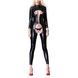 $enCountryForm.capitalKeyWord Australia - Sexy Faux Leather Jumpsuit Women Black Open Crotch PU Leather Jumpsuit With Binding Rope Plus Size Pole Dance Rompers