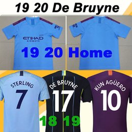 Chinese  19 20 KUN AGUERO DE BRUYNE Home Soccer Jerseys STERLING SILVA 18 Away 3rd Mens Football Shirts G. JESUS SANE Short Sleeve Uniforms manufacturers