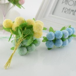 stamens for flower Canada - 10pcs Lovely Foam Ball Stamen Artificial Flowers for Home Wedding Decoration DIY Pompom Wreath Gift Box Decorative Toys Fake Flowers