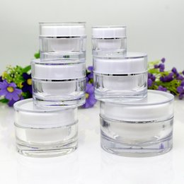 acrylic 15g cosmetic jars 2021 - 5g 10g 15g 20g 30g 50g White Round Acrylic Jar Empty Cream Containers Plastic Cosmetic Packaging Bottles