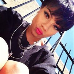 $enCountryForm.capitalKeyWord Australia - Cheap Short Pixie Cut Wig with baby hair African Haircut Style None Lace front Straight Human hair wig Brazilian Ladies Wigs for Black Women
