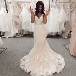 $enCountryForm.capitalKeyWord Australia - Bateau Neck Long Sleeve A-Line Country Wedding Dresses 2019 Elegant Lace Bridal Wedding Gowns Custom Made Bridal Gowns Plus Size