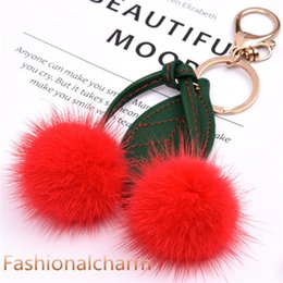 real fur keychain NZ - Cute Real Genuine Fur Cherry Bag Charm Keychain Pendant Keyring Kids Toy
