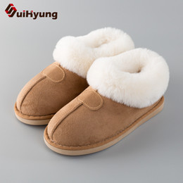 purple house shoes Australia - Suihyung Women Fur Slippers Winter Thick Warm Home Plush Slippers Flat Non-slip Indoor Shoes Slip On Soft Men Furry House Slides T191018