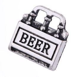 Bottle Charms Wholesale Australia - lemegeton Fashion Alloy Beer Box Charms Beer Bottles DIY Charms Letter Pendant for Keychain Bracelet Making