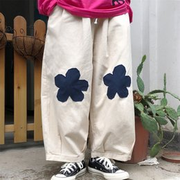 wide leg flower pants NZ - Spring new flower cloth loose casual trousers women's tooling flower patch embroidery nine points pants wide leg pants