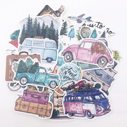 bus pack Australia - DIY scrapbooking hand-painted stickers plant trees car bus slow life album journal happy planner label decoration stickers pack