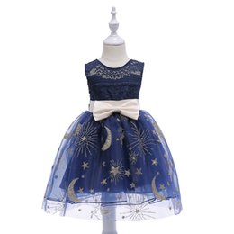 $enCountryForm.capitalKeyWord UK - Kids Girl Princess Dress Childrens Ball Gown Dress Stars Moons Tutu Round Neck Ball Gown Prom Clothing Birthday Party Dress