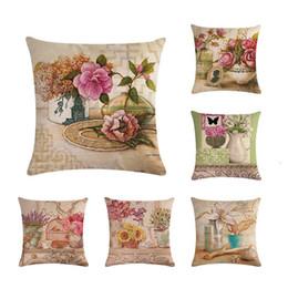Painting oil Paints online shopping - Vintage Oil Painting Flowers Cushion Covers Floral European Retro Clock Vase Art Pillow Cover Beige Linen Pillow Case ZY149