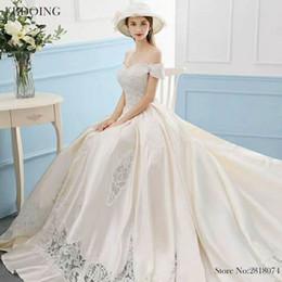 $enCountryForm.capitalKeyWord NZ - EBDOING Charming Ball Gown Wedding Dress Sweetheart Neckline Short Sleeves Chapel Train Plus Size Lace Up Custom Made Bridal Gown