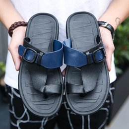 $enCountryForm.capitalKeyWord NZ - Men Sandals Outdoor Slippers PU Leather 2019 Summer Male Beach Flats Shoes Korean Version Casual Flip Flops Q-519