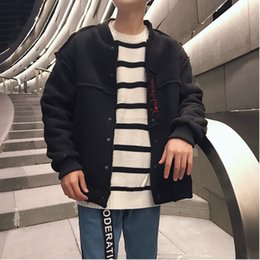Discount lamb suede - 2018 Autumn And Winter New Embroidery Solid Color Lamb Fur Suede Compound Jacket Cotton Jacket Men's Thick Gray   B
