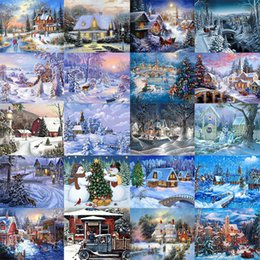 $enCountryForm.capitalKeyWord Australia - New 5d Diamond Painting Beautiful Christmas Tree Snow House Landscape Embroidery Diy Winter Scenery Full Round Mosaic Decor Gift