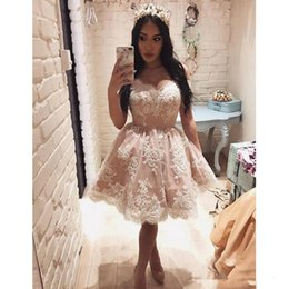 Knee length blue lace evening dress online shopping - Short Ball Gowns Homecoming Dresses Off The Shoulder Lace Appliques Pearls Mini Cocktail Party Dresses New Pageant Evening Gowns