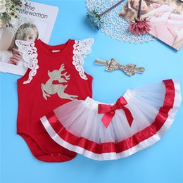 $enCountryForm.capitalKeyWord Australia - wholesale Xams Red Cute Infant Baby Girls Santa Outfits Toddler Kids Babies Girls Christmas Set Tutu T-shirt Top+Skirt Clothes