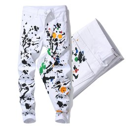 Wholesale floral printed skinny jeans for sale - Group buy White Skinny Fit Jeans For Man Printed Floral Stretch Denim Trousers New Fashion Style Cowboy Pants