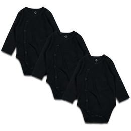 Long Suits For Girls UK - Newborn Baby Bodysuit Black 3 Pcs 100% Cotton Long Sleeve Place Unisex Solid Body Suit For Newborns Baby Boy Girl 0-24 Months Y19061201