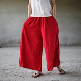 Cotton Linen Trousers Women Australia - Summer Wide Leg Pants New Women Casual Elastic Waist Trouser Pockets Loose Cotton Linen Women Solid Pants