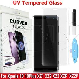 Screen protector anti glare xperia online shopping - UV Lamp NANO Liquid Glue Tempered Glass D Curved Phone Screen Protector For Sony Xperia xperia10 plus XZ1 XZ2 XZ3 XZ Premium XZ2 Premiu
