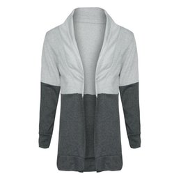 $enCountryForm.capitalKeyWord UK - Stand Collar Stitching Color Long Sleeve Casual Cardigan Coat Open Front Blouse