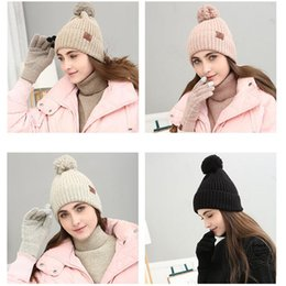 wholesale ski suits Australia - Autumn and Winter Outdoor Warm Beanies Hat Skiing Sport Windproof Cap Knited Hat Neckline Touch Screen Gloves Three-piece Suit Gift ZZA912