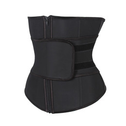 Plus Size Latex Waist Trainers UK - YUUMDO Abdominal Belt High Compression Zipper Plus Size Latex Waist Cincher Corset Underbust Body Sweat Waist Trainer