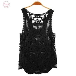 Wholesale embroidery floral lace crochet shirt for sale – plus size New Fashion Women Tank Womens Sleeveless Lace Tank Top Sexy Embroidery Hollow Out Floral Crochet Shirt Drop Shipping Good Quality